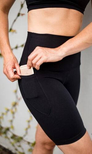 High waist black beauty long pocket shorts close up