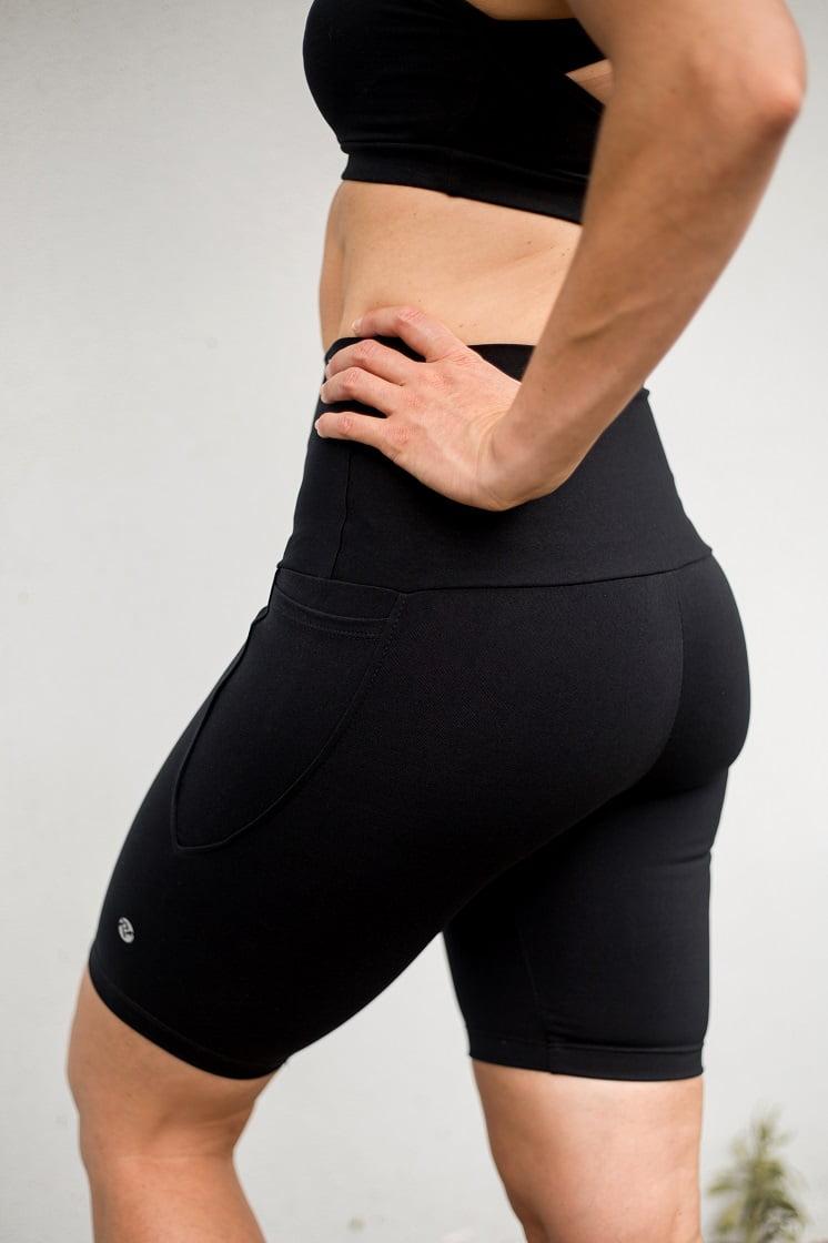 High waist black beauty long pocket shorts back