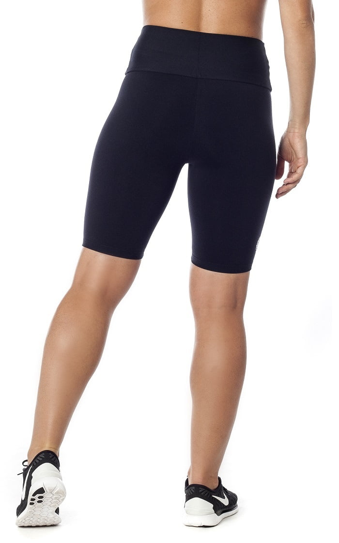 High waist black pocket long shorts back