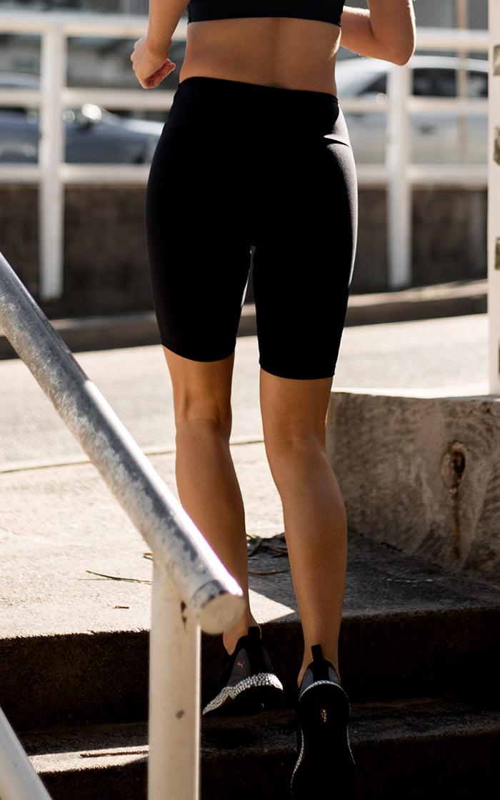 Black long shorts back