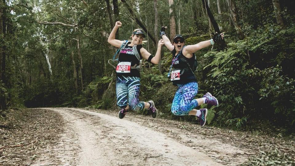 Allie & Jen Joliffe jumping