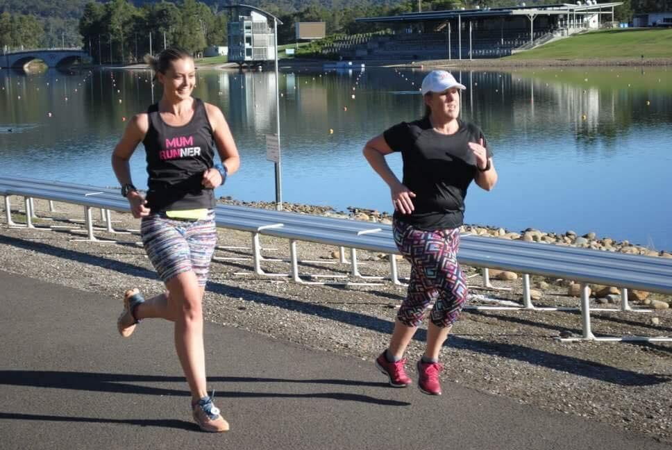 2 girls running